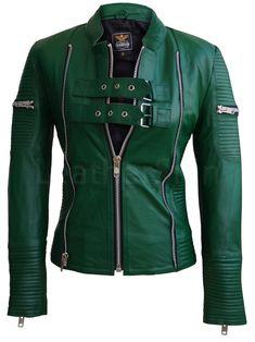 Women Green Sheep Skin Rib Quilted Genuine Leather Jacket. VerdeZapatos De  CueroChaquetas ... db6d1e63b66d