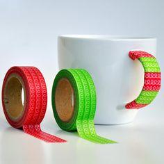 Banda Adeziva Dcor (Washi Tape) Model Bucla de creativemania Breslo Washi Tape, Craft Supplies, Mugs, Tableware, Model, Christmas, Crafts, Ideas, Xmas