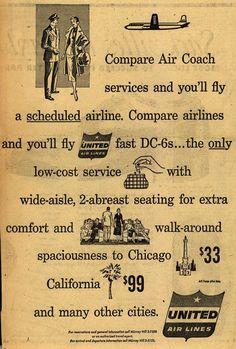 Vintage United Airlines Ad - 1954