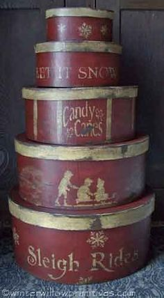 primitive Christmas decor Winter Willow Primitives ... another great idea for my $1 set of round boxes (Home Outfitters clearance)!
