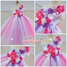 Pink and Purple Couture Flower Girl tutu Dress weddings flower girl dresses