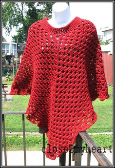 Cranberry Granny Style Ladies Crochet Poncho by close2myheart, $40.00