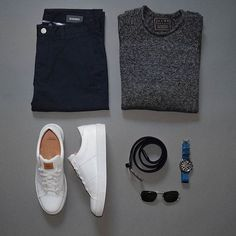 Dark & White sneakers - men's outfit grid