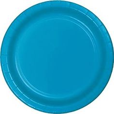 "Amazon.com: Custom & Unique {7"" Inch} 24 Count Bulk Multi-Pack Set of Medium Size Round Circle Disposable Paper Plates w/ Simple Modern Plain Natural Basic ""Baby Blue Colored"": Kitchen & Dining"