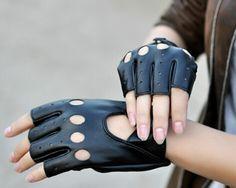 Guantes de cuero sin dedos estilo motociclista