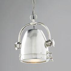 "Rotating Nautical Spotlight Pendant Light  (14""Hx13""W) 8' silver chain and black cord."
