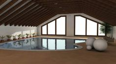 large built in floor swimming pool with large windows
