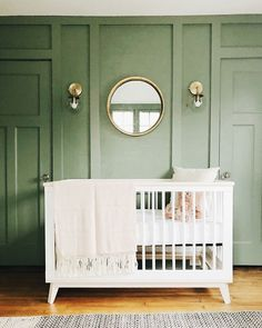 Green nursery with white crib Bedroom Green, Baby Bedroom, Nursery Room, Kids Bedroom, Kids Rooms, Girl Nursery, Pink Green Nursery, Newborn Nursery, Baby Rooms