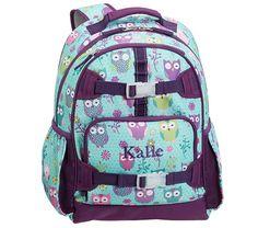 Mackenzie Turquoise Owl Backpacks | Pottery Barn Kids