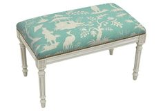 Love the bright aqua hue of this Chinoiserie upholstered bench!