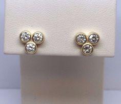 14K YELLOW GOLD .75 CARAT 3 STONES BEZAL SET ROUND DIAMOND STUD EARRINGS #Stud