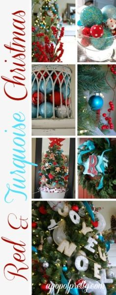 Red and turquoise Christmas . I love red & turquoise Christmas decorations! Christmas Tree Themes, Christmas Colors, Christmas Tree Decorations, Christmas Wreaths, Christmas Crafts, Blue Christmas Decor, Xmas Trees, Christmas Ideas, Merry Little Christmas