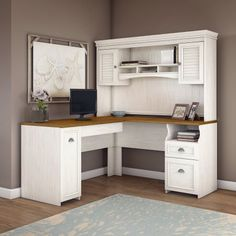 Bush Furniture Fairview L Shaped Desk with Hutch in Antique White Bring a slice of modern farmhouse styling into your home office with the Bush Furniture Furniture, Cheap Office Furniture, Home, L Shaped Executive Desk, Home Office Furniture, Home Office Design, L Shaped Desk, Office Design, Desk