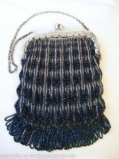 Antique Silver T Floral Crochet Knit Iridescent Blue Carnival Glass Bead Purse   eBay