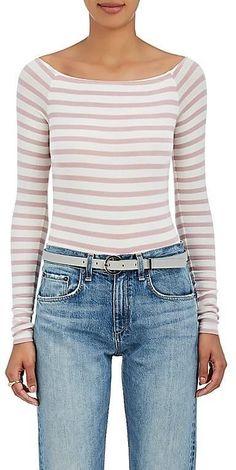 ATM Anthony Thomas Melillo Women's Striped Rib-Knit Off-The-Shoulder Bodysuit