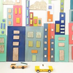 Cardboard city recycled art city scape invitation to play invitation to cre Cardboard City, Cardboard Crafts, Cardboard Boxes, Projects For Kids, Art Projects, Crafts For Kids, Recycled Art, Recycled Materials, City Collage