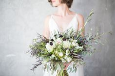 Seahorse Floral Design bridal bouquet; Fine Art Santa Barbara Wedding and Portrait Photography by Lucia Gill Photography » Rustic Elegance Styled Wedding Shoot - Lucia Gill Photography