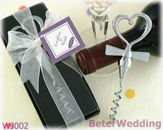 WJ002 Tuxedo Heart Corkscrew in Gift Box with Sheer Organza Ribbon and Tag Wedding Decoration, Wedding Gifts $99,999.00