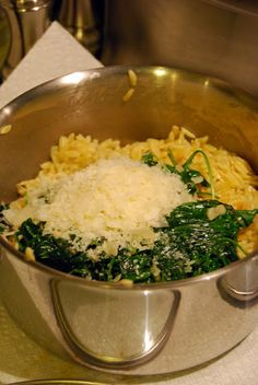 Orzo Pasta with Spinach and Parmesan. The BEST side item ever.