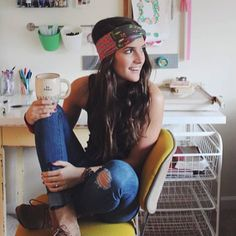 LOVE this Turban Headband with a retro twist (& our vintage mug)!