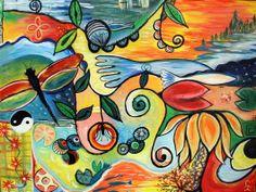 """30""""x40"""" """"Spring forward"""" Intuitive art by Carol Iyer"""