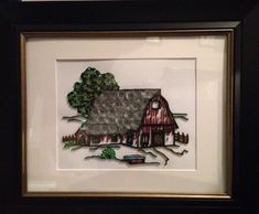 Quilling quilled art barn framed art 11x14 by jgaCreations on Etsy