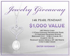 Enter to Win this Stunning 14K White Gold Pearl and Diamond Drop Pendant from www.HolstedJewelers.com!