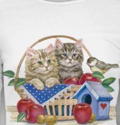 Fall Cat Shirt, Kittens in Apple Basket, Small - Womans Cat T-Shirt, autumn Fall Cats, Apple Baskets, Cat Garden, Cat Shirts, Heat Transfer, Dog Cat, Kittens, Bird, Christmas Ornaments