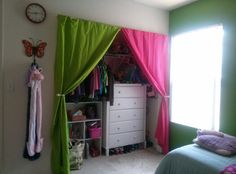 Diy kids room ideas  space saver closet, of course there's going to be different colors Kids Decor, Diy Home Decor, Make A Closet, Daughters Room, Creative Closets, Space Saver, Little Girl Rooms, Girls Bedroom, Bedroom Ideas