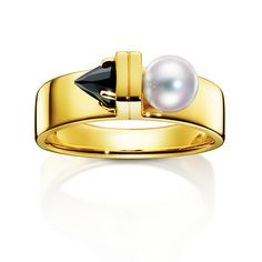 Tasaki, Refined rebellion vault ring, yellow gold, Akoya pearl, black spinel