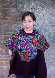 Maya Woman's Vintage Floral Huipil Boho Poncho Huipil from Chichicastenango, Guatemala