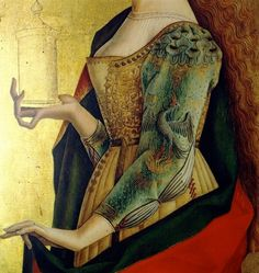 Detail of St. Mary Magdalene from the Altar Polyptychon of San Francesco by Carlo Crivelli c.1470 The beading work on the sleeve reminds me of an exant hat, with a pelican on it. Interesting that such thick work was used on clothing, the sleeve even.