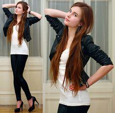 Ariadna Majewska - H&M Black Leather Jacket, Embis Leather Heels, Terranova Black Leggings, H&M White Top - Hotter than fire   LOOKBOOK