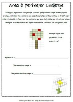 Here's a spring-themed area and perimeter activity. Students use grid paper and a straightedge to create a spring-themed shape with no gaps or overlaps. Then they calculate the area and perimeter of the shape.