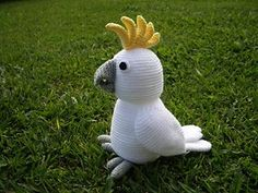 """Cockatoo by pawpaw 5 - This pattern is available for AU$5.30 AUD. Finished size: Cockatoo is about 30cm / 11.8"""" tall and 15cm / 6"""" wide. Crochet hook size 5mm (H / 8) with 100% acrylic 8 ply (DK weight) yarn are used here."""