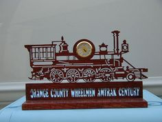 Scroll Saw clock train pattern modified for an award.
