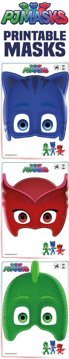 Printables - PJ Masks Owlette, Gekko, & Catboy Masks | All Mommy Wants
