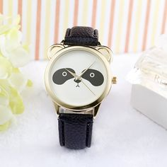 New Luxury Brand Quartz Watches Women Casual Dress Clocks Leather Strap Wristwatches Fashion Cute Panda Print relogio feminino