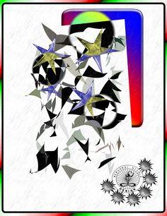 """design moderno: Quadro decorativo astratto con colori chiari:""""Stel..."""