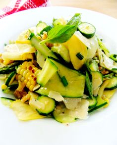 Zucchini ribbon salad with corn and parmesan shaves