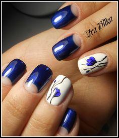 Blue moon nails, Blue nail art, Blue summer nails, Half-moon nails ideas, June nails, Nail polish for blue dress, Painted blue nails, Ring finger nails