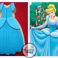 #Disney, Cinderella #cookies Princesas galleta vestido cenicienta
