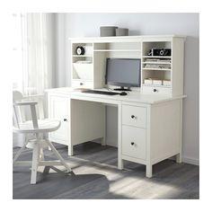 HEMNES Arbejdsbord med tilbygningsdel - hvid bejdse - IKEA