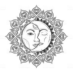 View top-quality illustrations of Sun Eclipse Concept Vector Illlustration Of Astronomy And Astrology Symbol. Find premium, high-resolution illustrative art at Getty Images. Mandala Art, Mandala Drawing, Mandala Sun Tattoo, Sun And Moon Drawings, Sun Drawing, Moon Sun Tattoo, Sun Tattoos, Palm Size Tattoos, Tattoos Skull