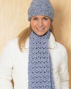 Blue Hat and Scarf Set free crochet pattern