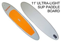 11 Orange Top Ultra Light Inflatable Stand Up Paddle Board SUP with attachment for Kayak Seat or Beach Chair Convert iSUP Paddle Board into SitOnTop Inflatable Kayak *** Clicking on the image will lead you to find similar product