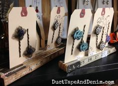 Vintage folding rulers flea market display for bobby pins | DuctTapeAndDenim.com