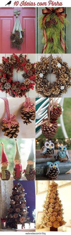 10 Ideias de decoração com pinhas para o natal.