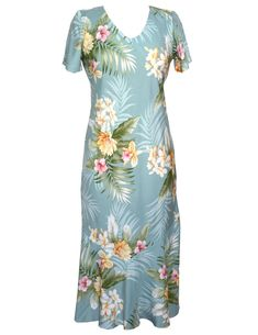 a2e54a549bc Liliha Aloha Dress Tea Length w  Cap Sleeves Rayon Soft Fabric Tea Length  Cap Sleeves Bias Cut V-Neck Design Mid Calf Length and Comfortable S