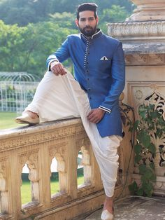 Buy Samyakk Blue Silk Soli Indo Western Sherwani online in India at best price. Wedding Dresses Men Indian, Wedding Dress Men, Wedding Dresses Photos, Wedding Suits, Wedding Wear, Mens Sherwani, Wedding Sherwani, Indian Men Fashion, Mens Fashion